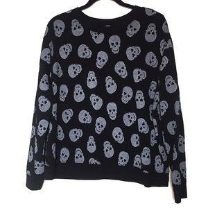 No Boundaries Skull Sweater Black Grey Skulls